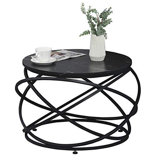 homcom Tavolino da caffè, Piano d'Appoggio Rotondo con Effetto Marmo e Struttura di Design in Metallo Nero, Φ65 x 44.5cm