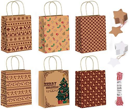 Hook 18 Pcs Geschenktasche Weihnachten, Weihnachtstüten Papier Geschenktüten Weihnachten Gross,Weihnachtsgeschenktüten Groß 18 x 23 x 8 cm,18 Pcs Kraftpapier Anhänger