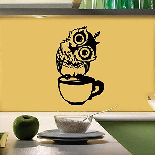 SMSDAMAI Wandtattoo Wandaufkleber DIY Wandbild kreative süße Eule in Teetasse Kaffee Kunst Aufkleber Wallpaper Home Decoration 28X43Cm
