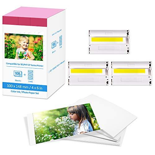 Canon Selphy CP1300 CP1200 CP910 CP1000 Cartucho de tinta y papel fotográfico KP-108IN compatible con impresora Canon Selphy CP, A6 (100 x 148 mm)