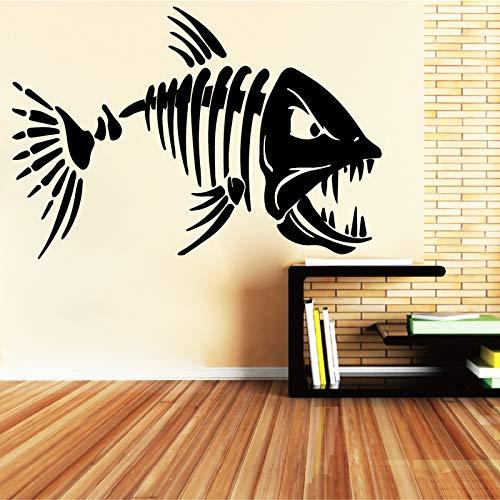 YuanMinglu Big Shark Tooth Fish Design Etiqueta de la Pared Living Room Art Etiqueta de la Pared extraíble Inicio Negro L 43cm X 65cm