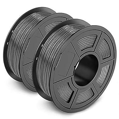 PLA 3D Printer Filament 1.75mm, SUNLU PLA Filament, Dimensional Accuracy +/- 0.02 mm, 2 kg, PLA 1.75 Grey+Grey