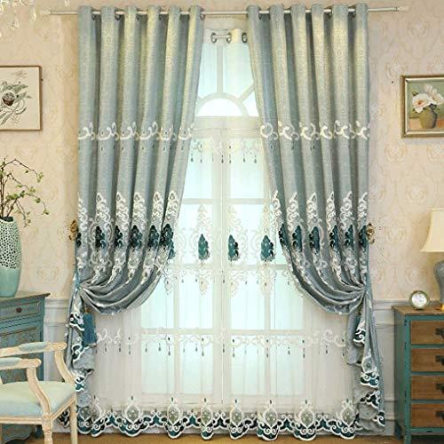 Gordijnen van hoge kwaliteit in Europese stijl woonkamer slaapkamer luxe eenvoudige Europese geborduurde beeldschermen Specials eenvoudige roze gordijnen (kleur: A, grootte: breedte 250 hoogte 270 cm (gordijn)) Width 250*height 270cm (curtain) 9