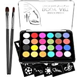 Face Paint Kit for Kids - 32 Stencils, 24 Large Water Based Paints, 2 Brushes, Professional Quality Face & Body Paint,...