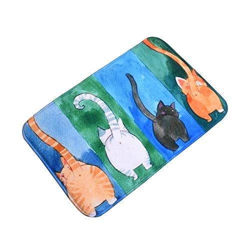 Surui Fussmatte Rutschfest Waschbar Schmutzfangmatte Fussabtreter Türmatte Fußmatte Katze für Innen und Aussen Schmutzmatte mit Katzenmotiv Fußabtreter Auswaschbar für Küche Bad #4 40*60CM