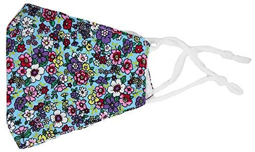 Trachtenland Mund Nase Stoffmaske Gesichtsmaske aus 100% Baumwolle mit Blumen - Oriental - Blau