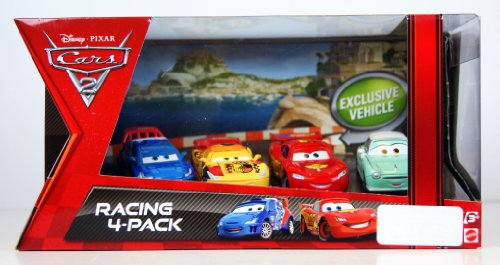 Disney Pixar Cars 2 Racing 4-Pack - Lightning McQueen & Raoul Caroule & Miguel Camino & Denise Beam - V5015