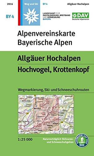 Allgäuer Hochalpen, Hochvogel, Krottenkopf: Wegmarkierung, Ski- und Schneeschuhrouten: mit Wegmarkierungen und Skirouten