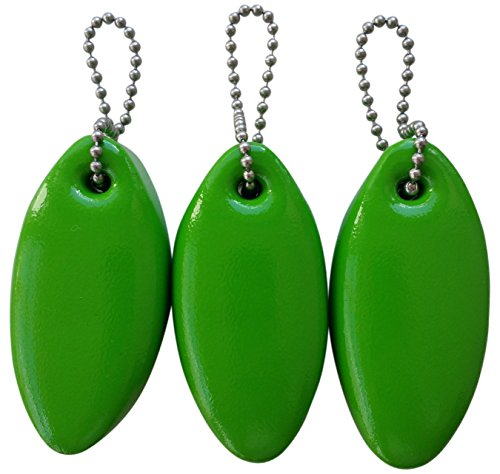 3 Pack Vinyl Coated LIME GREEN Floating Keychain...