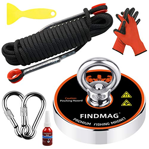 FINDMAG Magnet Fishing Kit Fishing Magnets 1000 LBS Pulling Force Super Strong Neodymium Round Magnet for Heavy Duty Use - 3.54inch Diameter