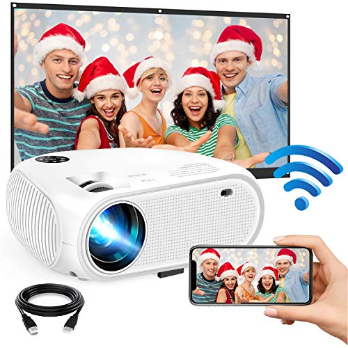"""WiFi Mini Projector, 2020 Upgraded 4500 Lux Portable Video Projector, Support 1080P HD 200"""" Screen for Home & Outdoor Movie Theater, for iOS Android Phone,TV Stick,HDMI,USB,TF,VGA"""