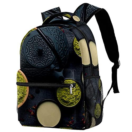 Mochila escolar para niños con múltiples bolsillos, mochila escolar, mochila casual con asa superior con correas ajustables para el hombro, vista superior, ceremonia de té tradicional japonesa
