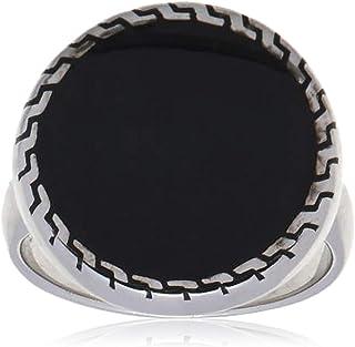 خاتم فضة استرليني ملاكي مع حجر ازرق للرجال من عتيق