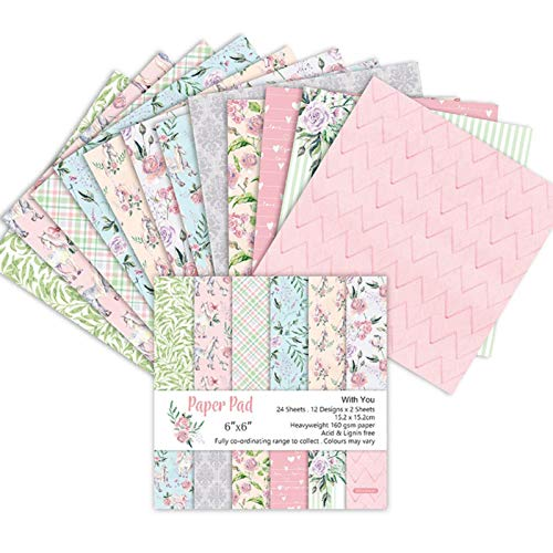 24 Blatt Scrapbooking Papiere mit 12 Muster, Designpapier, Bastelpapier, Dekorpapier für DIY Handwerk Foto Hintergrund Deko, 6x6 Zoll