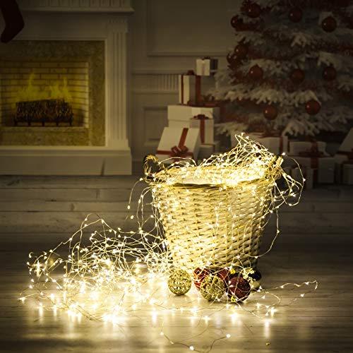 LED Lichterstrang warmweiss innen mit Timer Funktion - 180 360 oder 720 LED - 4 bis 5 m lang (720 LED 5 m lang)