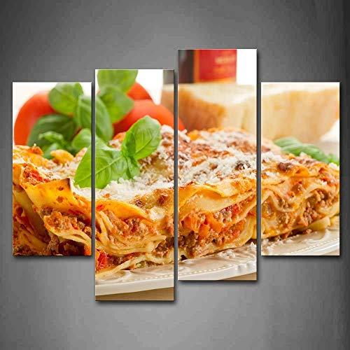 Geen frame pasta met groen blad in plaat en kaas muur kunst schilderen van de foto afdrukken op canvas voedsel foto's voor huisdecoratie decoratie