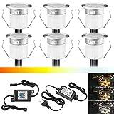 Juego de 6 focos LED empotrables con Bluetooth, intensidad regulable, blanco cálido, blanco frío, 3 en 1, foco empotrable, resistente al agua, IP67 W, diámetro de 30 mm, iluminación para terraza