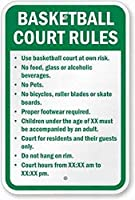 バスケットボールコートルールカスタムサイン安全サインティンメタルサイン道路標識屋外装飾注意サイン