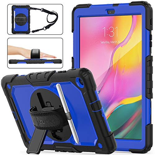 SEYMAC Stock Samsung Galaxy Tab A 10.1 T510/T515 2019 Case, Shockproof Full-Body Rugged Armor Case with 360 Rotating Stand Pencil Holder Screen Protector Hand Strap for Samsung Tab A 10.1(Blue+Black)