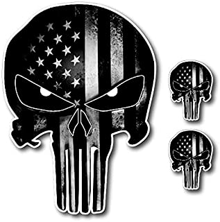 Pack of 3 Black and White Punisher Skull American Flag Vinyl Decal Stickers Car Truck Sniper Marines Army Navy Military Jeep Graphic