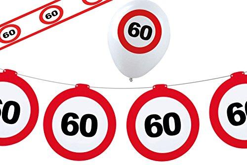 Karneval-Klamotten Dekoset Geburtstag Party 60 Jahre Verkehrsschild