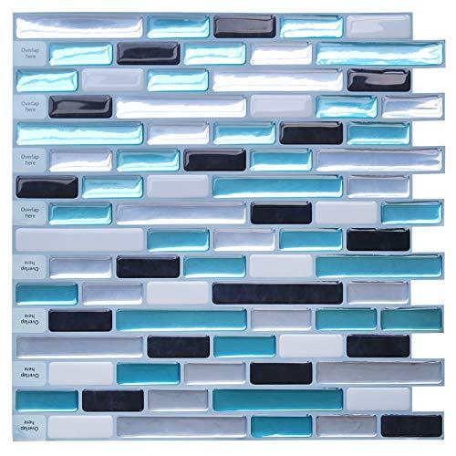 "Uoisaiko Peel and Stick Wall Tile for Kitchen Backsplash 12"" x 12"", Stick on Tiles Subway Tile Stickers 4 Sheets"