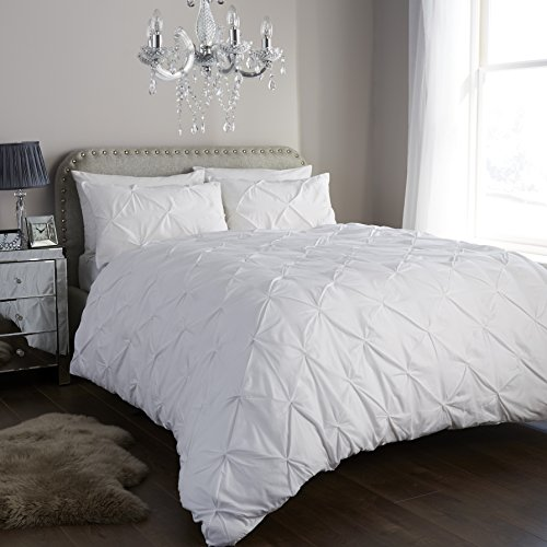 River-Nile Pintuck Duvet Cover and Pillowcases Set Printed Polycotton Bedding Set (White, Double)