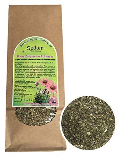 Té Herbal Sedum Mezcla - Tomillo, orégano y equinácea - Té de hierbas sabroso y natural para la sauna - Té refrescante y relajante - Recogido a mano en la UE - 50g