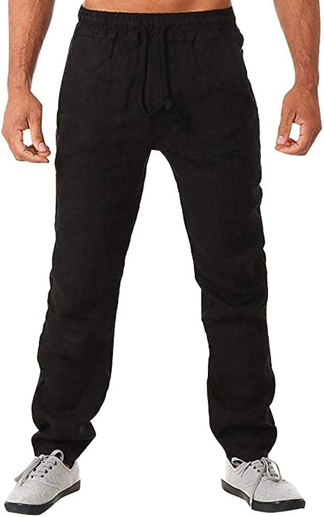 Beshion Men's Pants Cotton Linen Casual Long Pants Lightweight Drawstring Pants Elastic Waist Loose Yoga Jogging Trousers