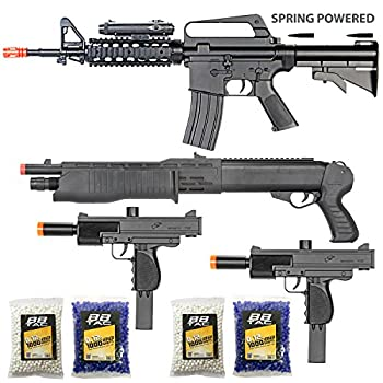 BBTac Airsoft Gun Package - The Operator - Collection of 4 Airsoft Guns - Powerful Spring Rifle Shotgun Two SMG 4000 BB Pellets Great for Starter Pack Game Play