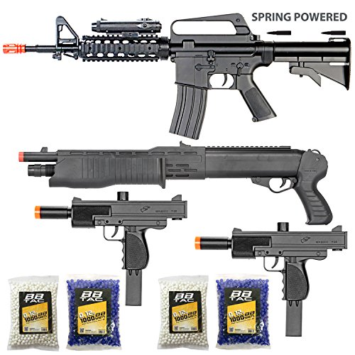 BBTac Airsoft Gun Package - The Operator - Collection of 4 Airsoft Guns - Powerful Spring Rifle, Shotgun, Two SMG, 4000 BB Pellets, Great for Starter Pack Game Play