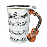 Giftgarden 0.4L Tasse Weiß lustige Kaffeetasse Teetasse mit Geige Griff