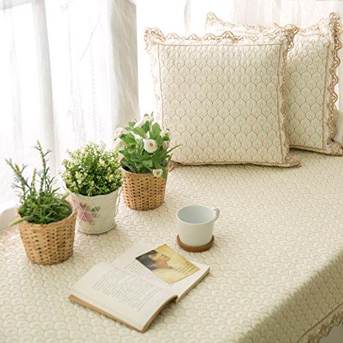 AMYDREAMSTORE Einfach Anti-rutsch Kissenhülle Decke erker Platz sill pad,Stickerei Baumwolle Sitzbank mat Sofa Matte Teppich Tatami Sitzkissen Für Wohnzimmer-F 110x160cm(43x63inch)