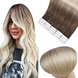 Full Shine Tape In Hair Extensions Remy Human Hair 16 Inch Glue In Hair Extensions Balayage Color 6B Fading To 613 Bleach Blonde Premium Remy Silky Straight Hair Extensions 50 Grams 20 Pieces
