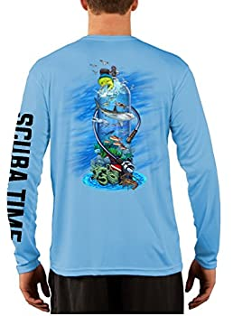 GAMEFISH USA UPF 50 Long Sleeve Microfiber Moisture Wicking Performance Fishing Shirt Scuba Diving Tank Large Baby Blue
