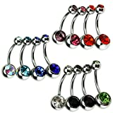 12x Navel Body Piercing Steel Double Gemstone Crystal Bars Belly Ring Dozen