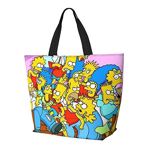 Dibujos animados Simpson Multifuncional plegable y reutilizable de gran capacidad con cremallera para las mujeres, bolso de la compra, bolsa de gimnasio, bolsa de viaje, bolsa de ordenador
