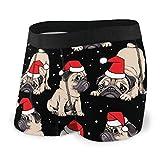 Dydan Tne Pugs navideños con Gorra roja de Santa Claus Ropa Interior para Hombres Calzoncillos bóxer Sin baúles para Montar