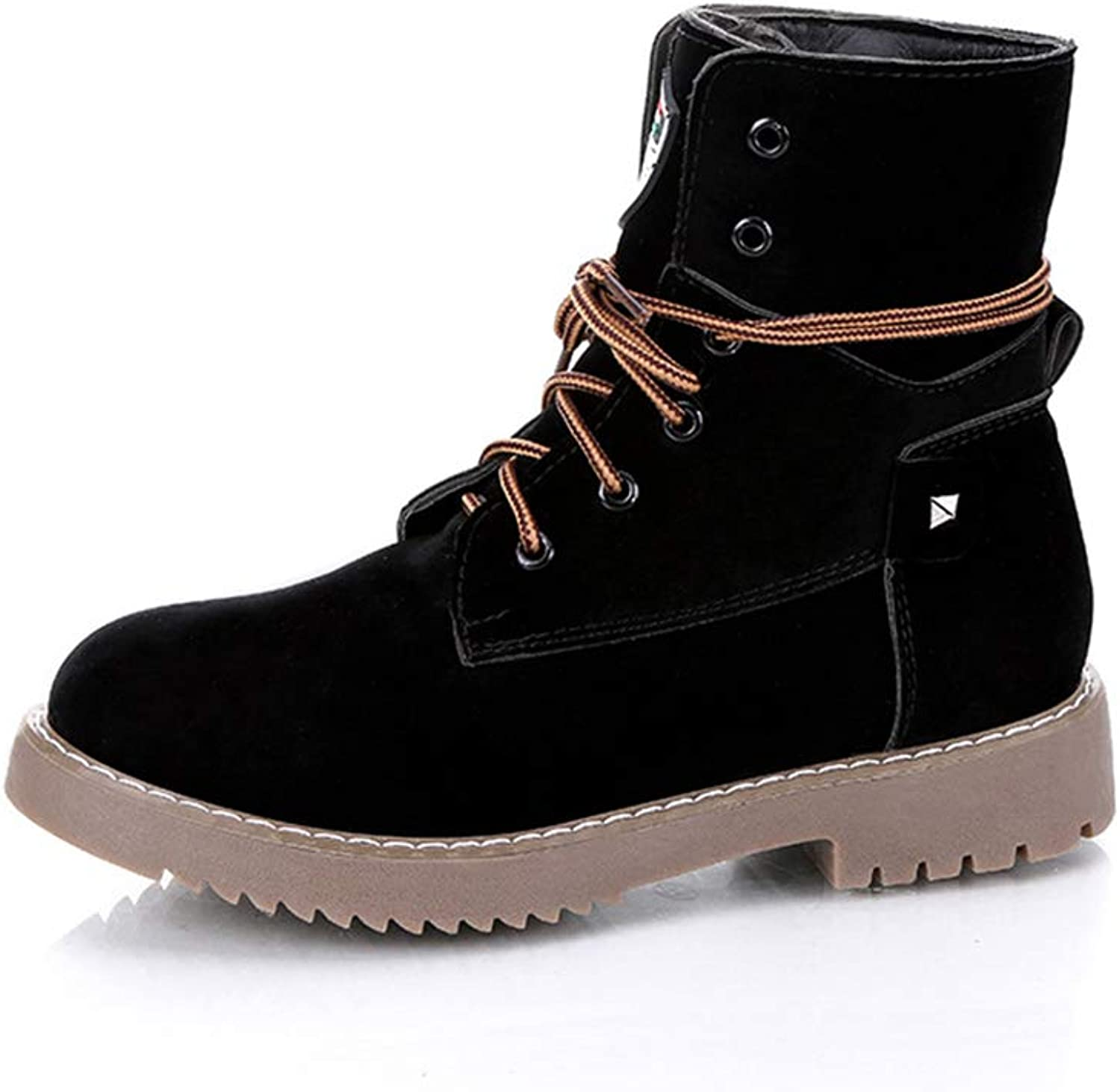 Btrada Women's Warm Martin Boots Student Casual Lace-up Ankle Boots for Autumn Winter Anti-Slip Booties