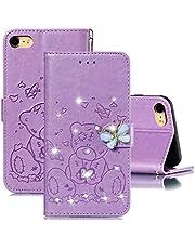 """JJWYD Funda para iPhone 7 / iPhone 8 4.7"""", Brillo Billetera Libro PU Cuero Bling Diamante Mariposa Diseño Carcasa Soporte Plegable Ranuras para Tarjetas Cierre Magnético Funda - Púrpura"""