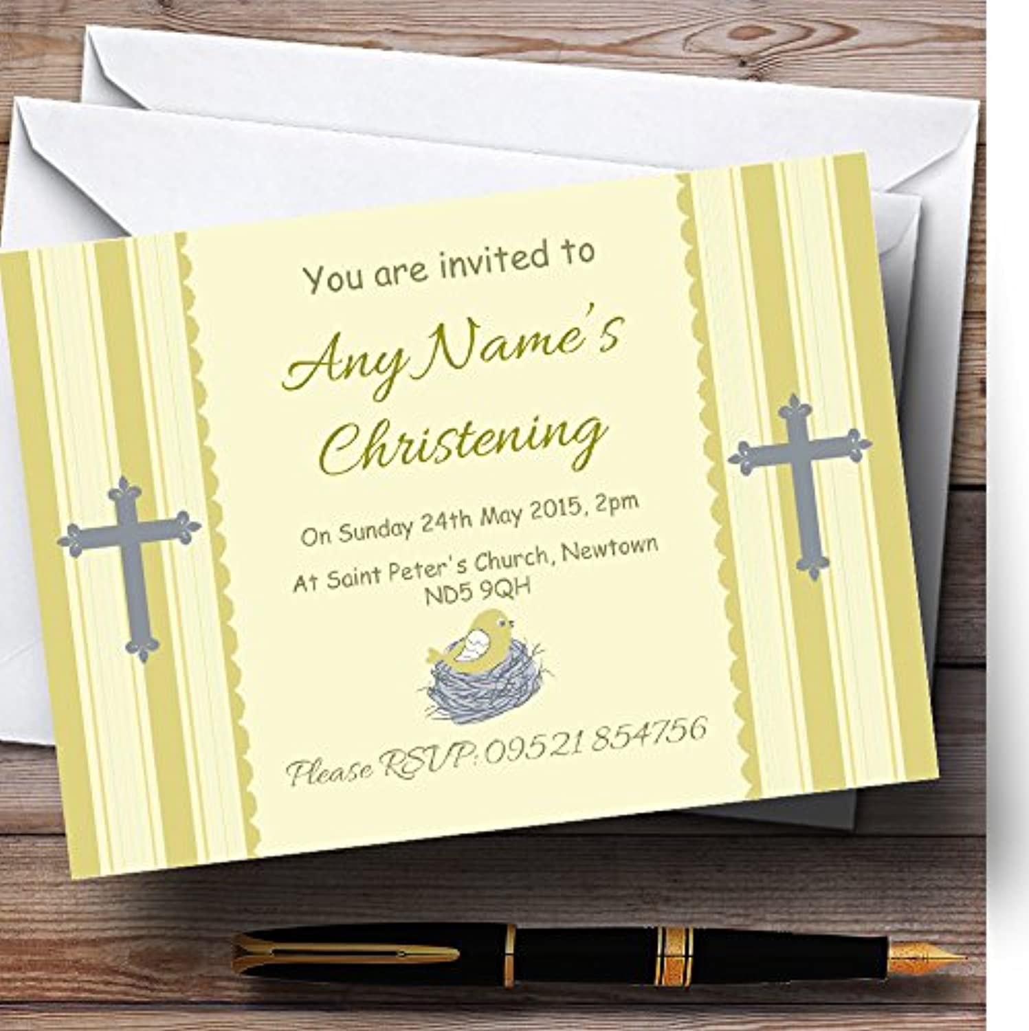 Birds In Nest Yellow Christening Party Personalised Invitations   Invites & Envelopes
