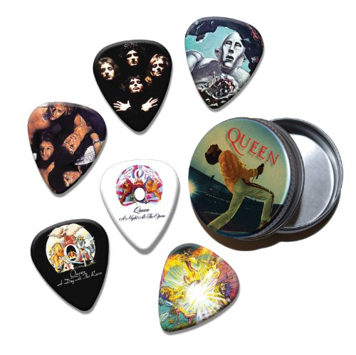 Queen Set of 6 Loose Chitarra Picks Plettri in Tin ( Collection B )