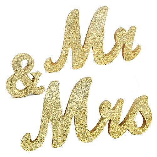 Awtlife MR & MRS - Letrero de madera con purpurina dorada para decoración de mesa de boda