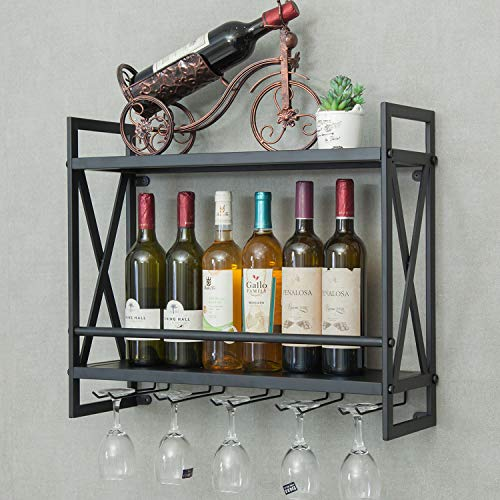 Industrial Wine Rack 14 Bottles Wall-Mounted Wine Cabinet with 5 Glasses Holder Metal Wine Storage Shelf Multi-Function Display Rack for Home Bar Restaurant Kitchen 23.6'' x7.9'' x20.5''