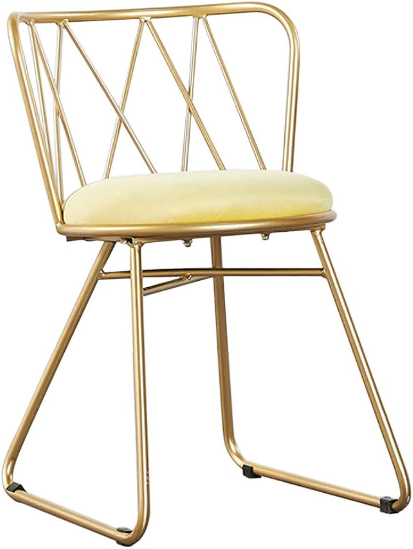 Nordic Wrought Iron Dining Chair, Velvet Fabric Dressing Stool,Ergonomic Design,for Restaurant Pub Cafe Living Room Hotel Bedroom