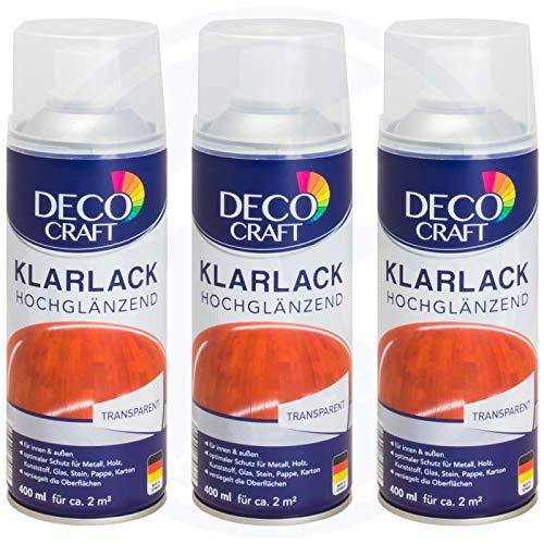 3 x Deco Craft Klarlack Transparent Hochglänzend Spraydose 400 ml 2in1 Lack und Grundierung Spray Dose Sprühlack