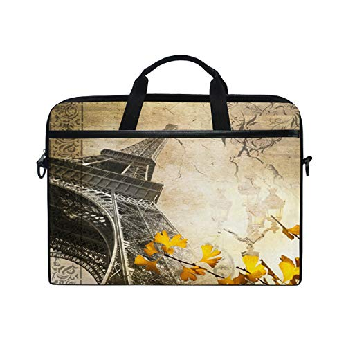 Laptop Case, Romantic Vintage Paris Collage with The Eiffel Tower Pattern Computer Sleeve Protective Bag 3 Layer with Durable Zipper for Lenovo Hp MacBook Pro Neoprene Notebook 14 15 15.4 in