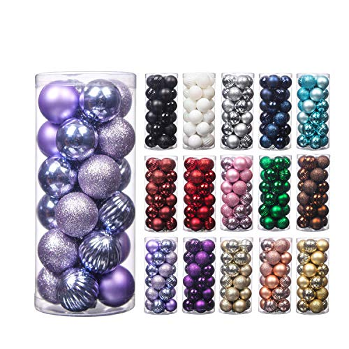 24Pcs 4cm Christmas Balls, Small Size Christmas Tree Ornaments Hanging Christmas Home Decorations for Home House Bar Party(Lavender)