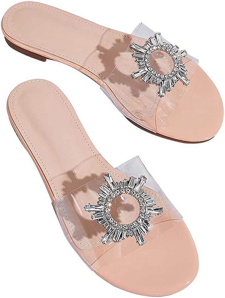 keleimusi Women's Open Toe Transparent Crystal Flat Sandal Shoe Clear Wide Band Slides Flip Flop