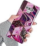 Uposao Compatibile con Samsung Galaxy Note 9 Custodia Ultra Sottile in Silicone Colorato 3D Bling Glitter Modello in Marmo Custodia Morbida Antigraffio Cover per Cellulare Paraurti in TPU,Viola Rosso